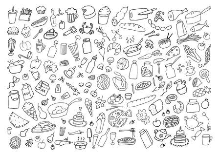 Alimentos dibujado a mano Juego de dibujos animados Foto de archivo - 38831334