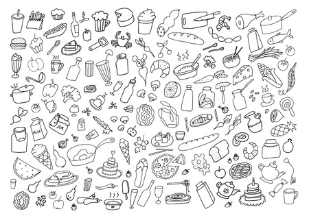 Food Hand Drawn Cartoon Set