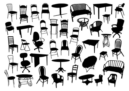 Furniture Silhouettes Set Vector