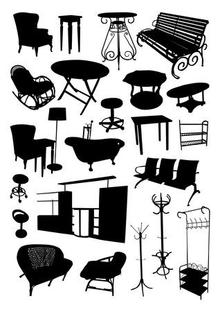 wicker bar: Furniture Silhouettes Set