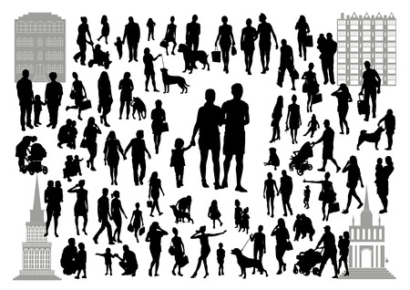 promenade: People silhouettes in the city