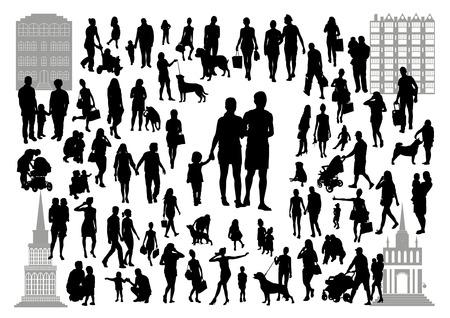 Sagome di persone in città Archivio Fotografico - 39089452