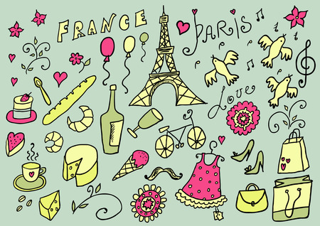 french bakery: France hand drawn color set