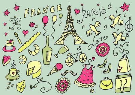 France hand drawn color set