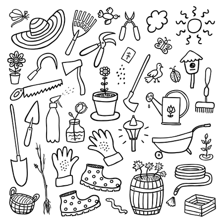 Garden hand drawn cartoon set