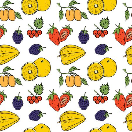 verdure: Fruit and Vegetables Hand Drawn Color Seamless