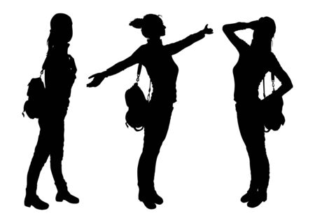 leggy: Silhouettes of a girl with a backpack