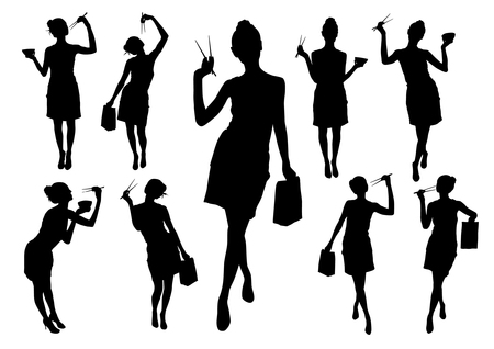chopstick: Silhouettes of girls with chopstick