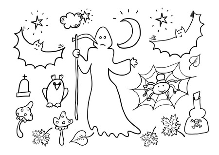 witchery: Halloween Hand Drawn Cartoon Set Illustration