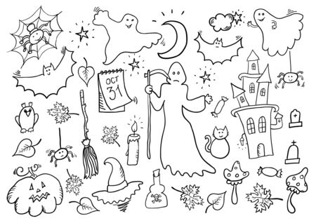 Halloween Hand Drawn Cartoon Set Vector