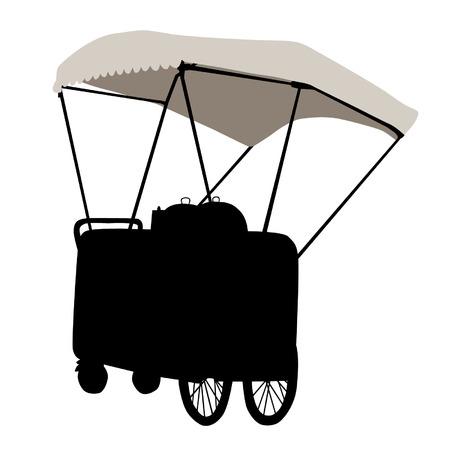 bancarella: Silhouette di un carrello bancarella su uno sfondo bianco
