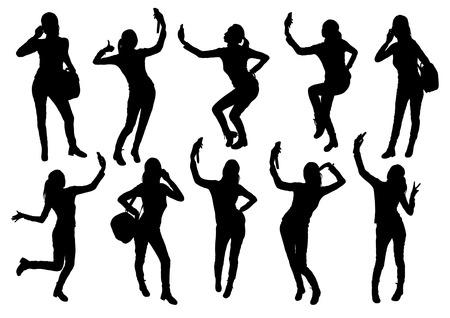 Les filles et les silhouettes de téléphones mobiles Banque d'images - 39780870