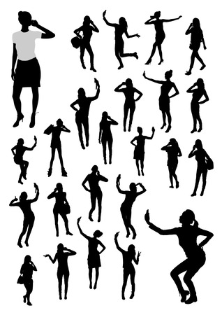 vector girl: Girls and mobile phone silhouettes