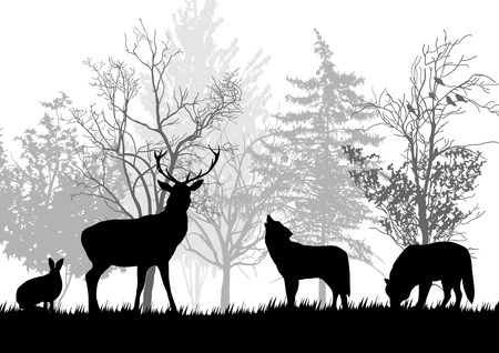 Wild Animals in the Forest Silhouettes Vector