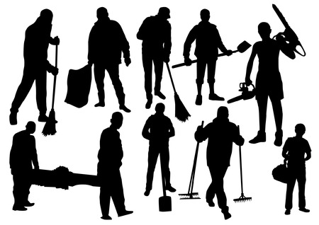 Workers People Silhouettes Set Illustration