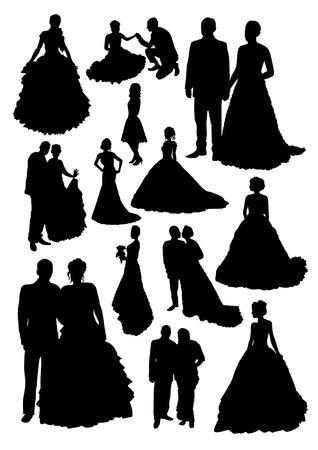 Siluetas de la boda Set Foto de archivo - 39895152