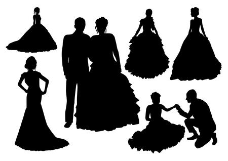 Siluetas de la boda Set Foto de archivo - 39898059
