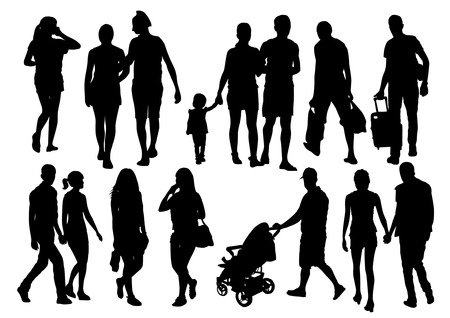 Marcher People Silhouettes Set Banque d'images - 39898204
