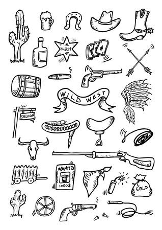 saddle: Wild West Hand Drawn Set Illustration