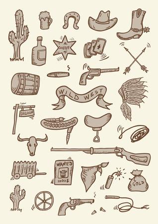 western wear: Wild West Hand Drawn Set Illustration