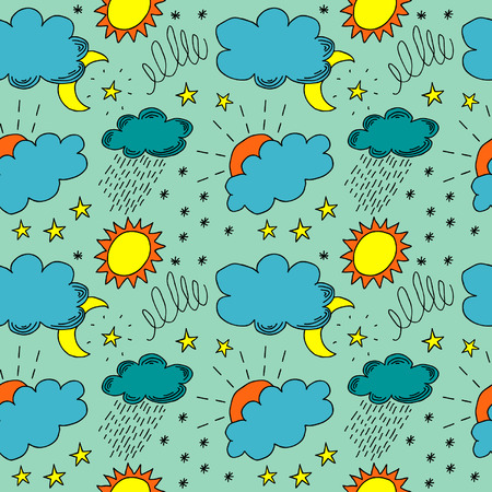 Weather Color Hand Drawn Seamless Vector