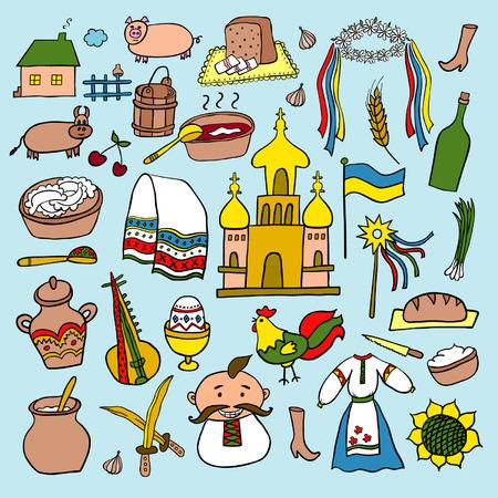 schmalz: Ukraine Hand gezeichnete Cartoon-Set