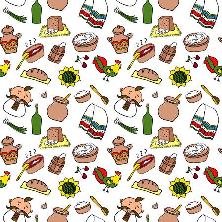 lard: Ukraine Hand Drawn Color Food Seamless Illustration