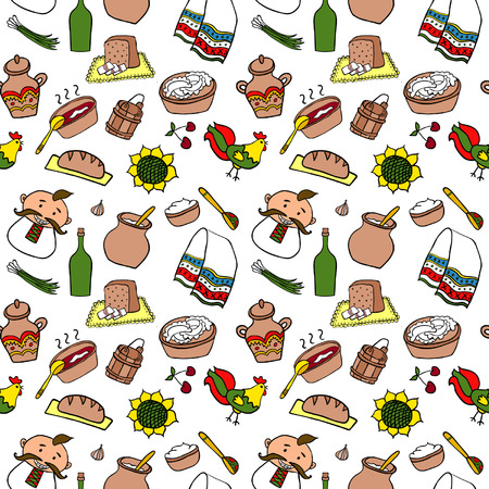 schmalz: Ukraine Hand gezeichnete Farb Speisen Nahtlose