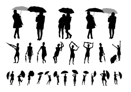 wet girl: Girl with umbrella silhouettes Illustration
