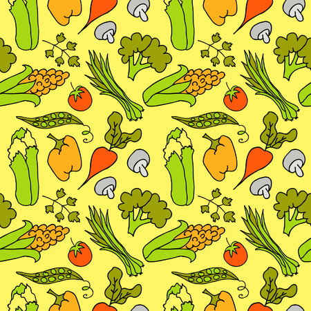 romaine lettuce: Hand Drawn Vegetables Seamless Illustration