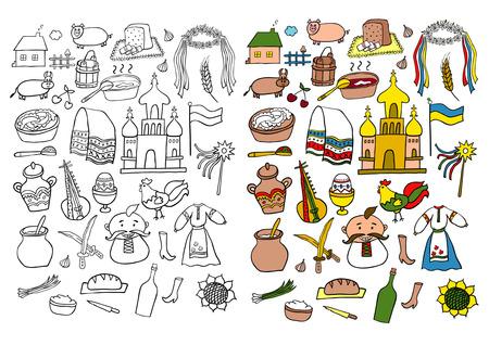 lard: Ukraine Hand Drawn Cartoon Set Illustration