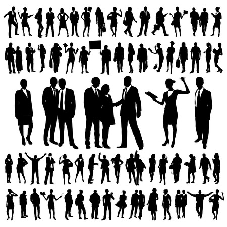 siluetas de mujeres: Personas Siluetas Set Vectores