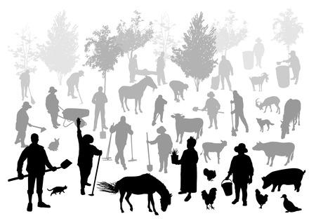 granja: Siluetas de personas y animales en la granja Vectores
