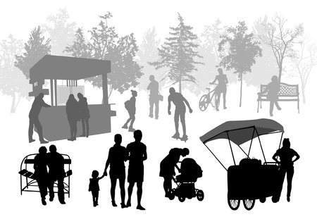 childrens food: Silhouettes of people in urban park
