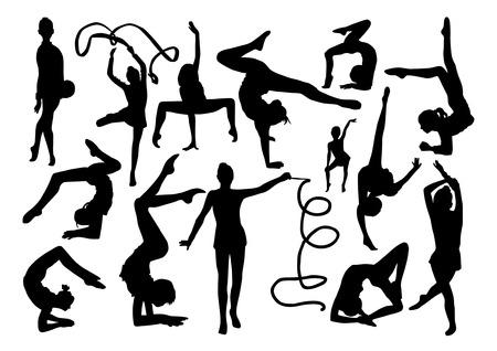 Gymnastics silhouettes set Vector