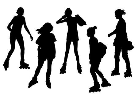 roller skating: Girls on Roller Skates Silhouettes