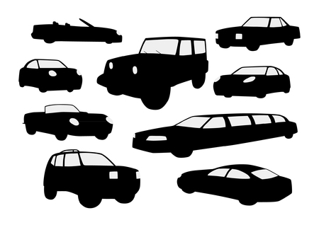 Sets of silhouette cars Vectores