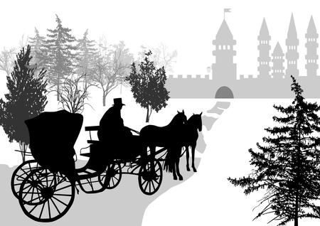 Vintage carriage with the coachman silhouette
