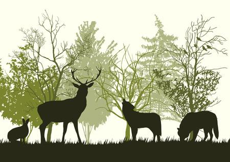 Wilde dieren in het bos Silhouetten Stock Illustratie