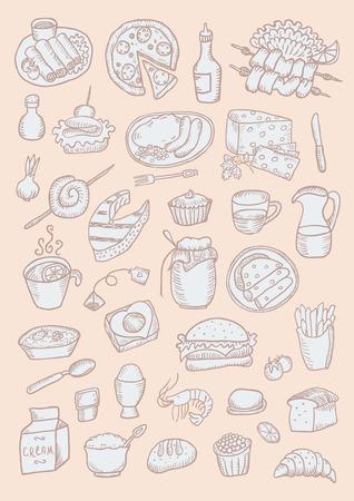 Food hand drawn color set Vector