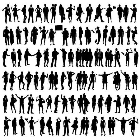 persone nere: Persone Silhouettes Set