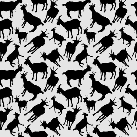 Goats Silhouettes Seamless Vector