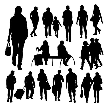 People Silhouettes Set Vectores