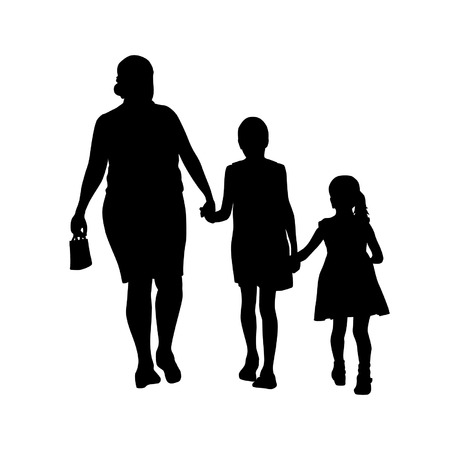 span: Illustration of family - three generations of women of different ages