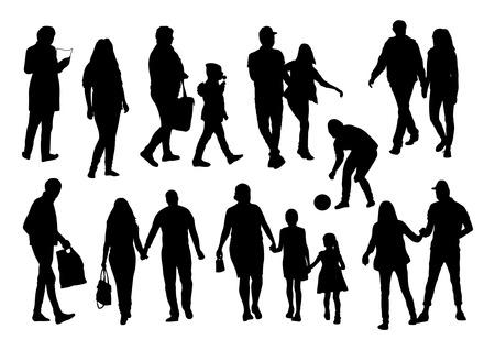 silhouettes people: People Silhouettes Set Illustration