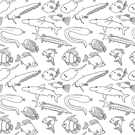 sturgeon: Hand drawn cartoon fish seamless