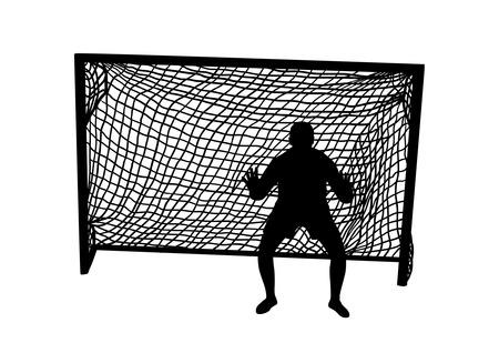 portero de futbol: Silueta de un portero de f�tbol Vectores