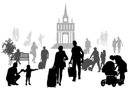 bagagli: La gente alla stazione Silhouettes Set