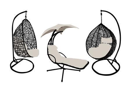 garden furniture: Garden and beach furniture silhouettes set Illustration