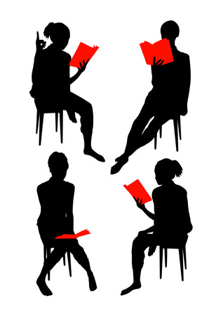 woman reading book: Silhouettes of girl reading book